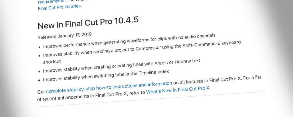 Actualización de Apple Final Cut Pro X a 10.4.5